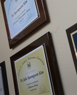 Doctor diplomas on wall